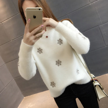Autumn and Winter New Snowflake Loose Bottom-topped Knitted Shirt Half-high-collar Sweater for Women winter sweater women