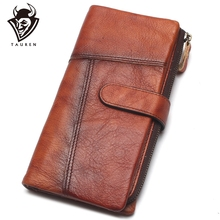 Original Handmade Wallet Retro First Layer Leather Color Long Zipper Stitching Wallet Female Mens Handbag