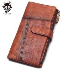 Portefeuille fait main Original rétro première couche en cuir couleur longue fermeture éclair couture portefeuille femme hommes sac à main