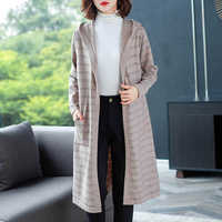 2019 Autumn Winter New long coat sweaters with cap women sweater cardigan Cashmere sweater women Knitted Female pull femme Coat