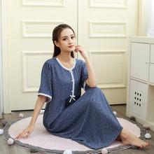 Camisón de algodón de manga corta para mujer, ropa de dormir transpirable con lunares, para el hogar, de princesa, novedad de verano