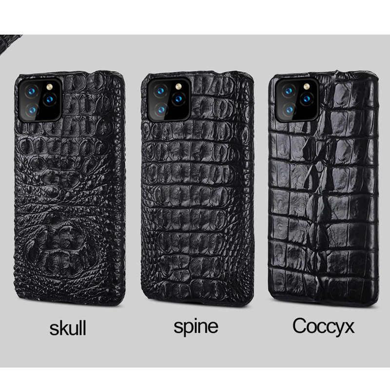 Capa de celular de couro de crocodilo genuíno, capa de celular para apple iphone 11pro 11 pro max xr x xs max 6 7 8, 100% capa de luxo plus 6s 5 5S se 2020