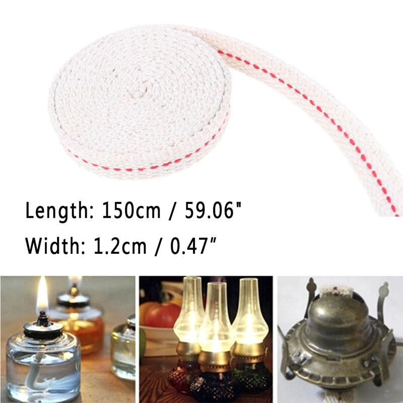 1.2cm*1.5m/Roll Oil Flat Cotton Wick for  Kerosene Burner Stove Lighting Lantern Oil Lamp Making