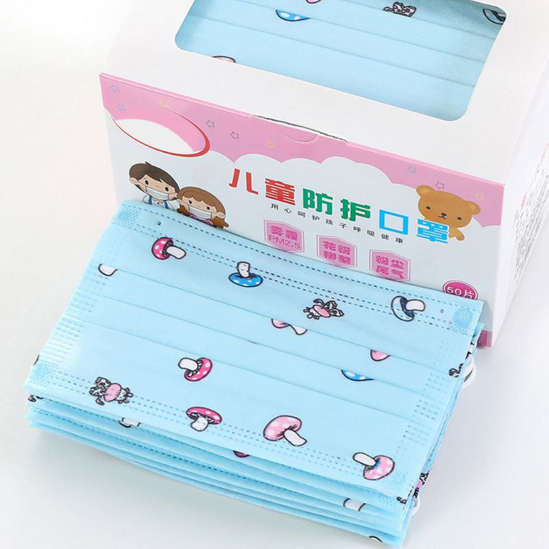 50Pcs/Box Kids Disposable 3-Layer Face Mask Cute Cartoon Printed Nonwoven Dustproof Anti Pollen Earloop Mouth-Muffle