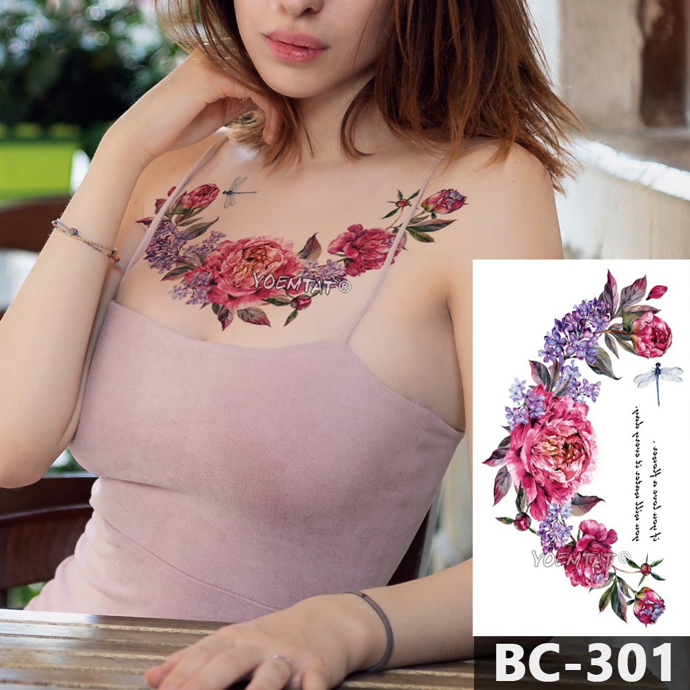 1 Sheet Chest Body Tattoo Temporary Waterproof Jewelry Pink Purple Flowers Dragonfly Pattern Decal Waist Art Tattoo Sticker