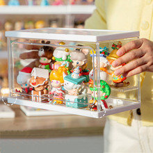 Garage Kit Doll Storage Box Dustproof Small Doll Display Cabinet Toy Organizer Save Desktop Space HD Cleart Bin Display for Home