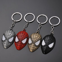 2019 New Superhero Spider-Man Mask Metal Keychain Avengers Endgame Iron Man Captain America Shield Keychain For Men Women Pendant(China)