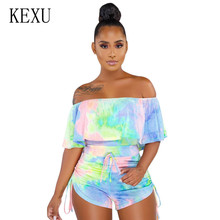 KEXU Summer Sexy Hollow Out Camouflage Printed Ruffled Short