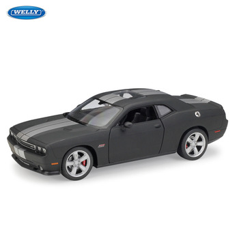 WELLY 1:24 Dodge Challenger SRT sports car simulation alloy car model crafts decoration collection toy tools gift welly 1 24 subaru impreza wrx sti sports car simulation alloy car model crafts decoration collection toy tools gift