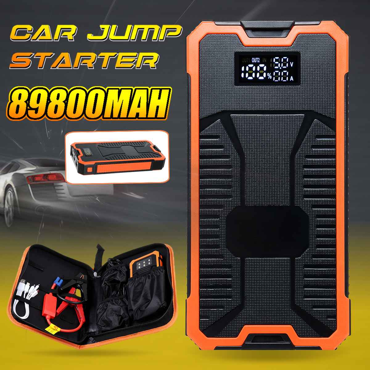 12V 89800mAh Car Jump Starter Digital Display Starting Device Portable Power Bank Fast Charger Dual USB Output For Car Battery