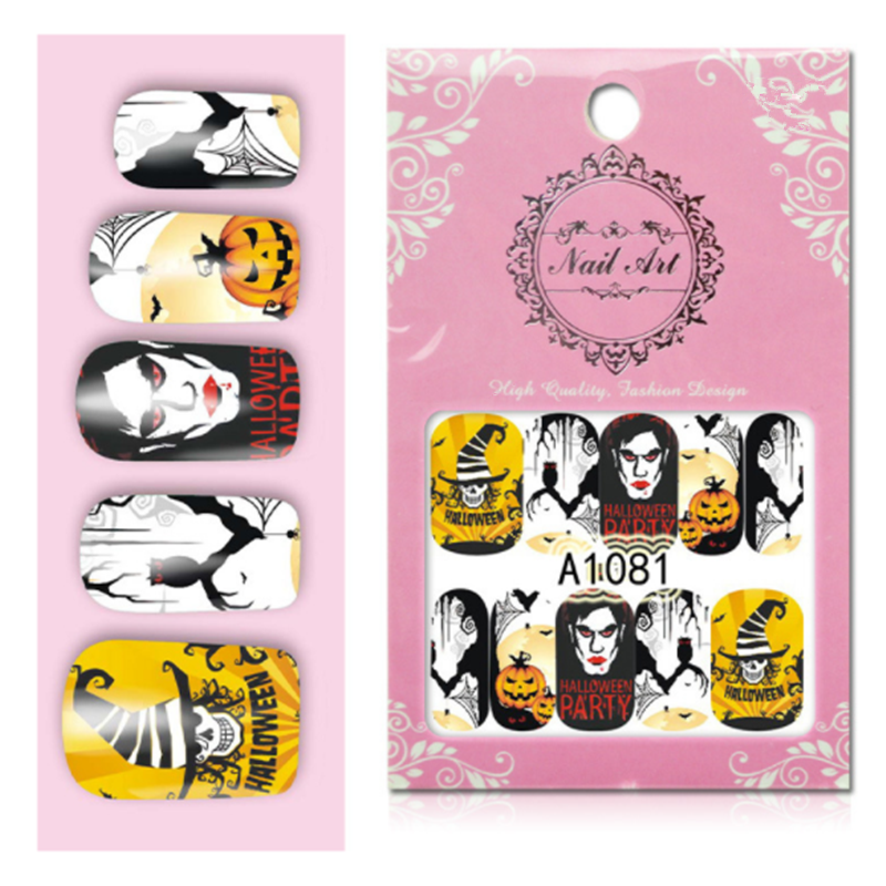 1 шт. череп головы вампира розовые блестки для ногтей Хэллоуин карманный внешний аккумулятор наклейки ногтей художественные украшения сделай сам