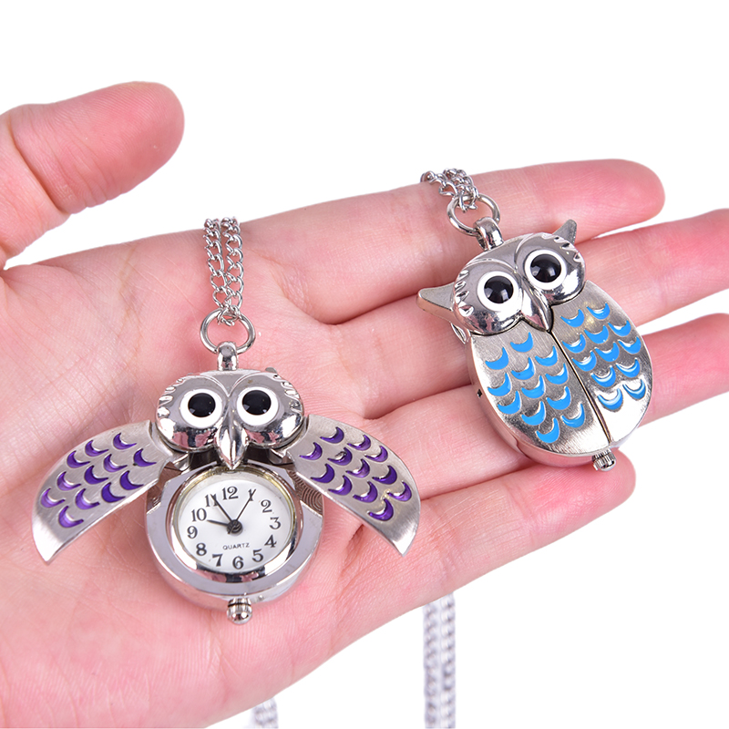 Vintage Owl Pocket Watch Chain Necklace Pendant Kay Chain Flip Case Watch Hour Clock For Men Women Animals Pocket Watches Gift