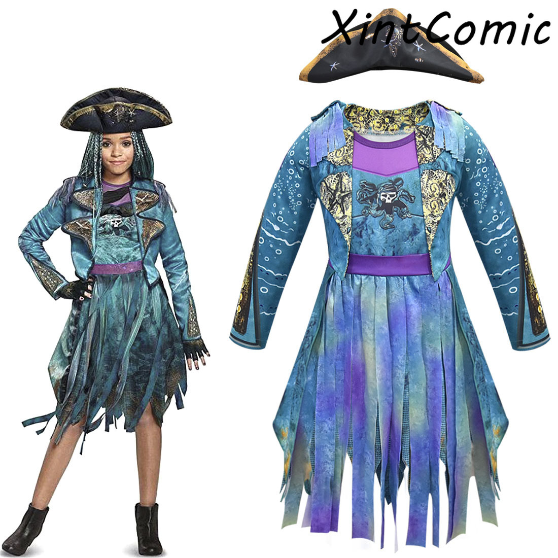 Descendants 3 Mal&Uma Ursula Daughter  Dreadlocks Kids Cosplay Dress Halloween Costume For Girl Kids Christmas