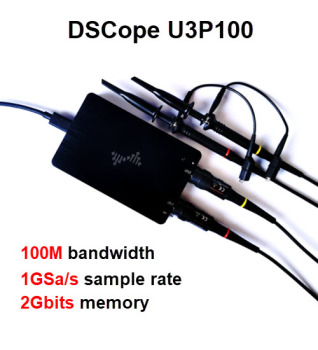 DSCope U3P100 1GSa/s 100mhz  PC oscilloscope usb digital Dual Sampling Rate dual analog Bandwidth with FFT GUI Interface hantek 1008a digital pc usb oscilloscope generator vehicle 8channels testing 2 4msa s 2 0 interface automotive programmable