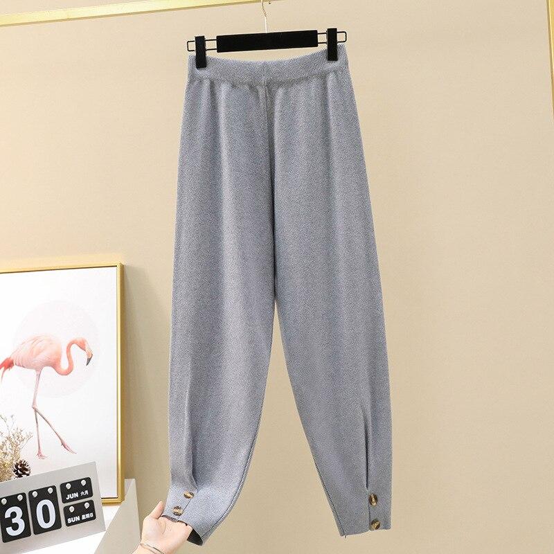 Осенние женские повседневные штаны-шаровары, свободные брюки для женщин, зимние теплые толстые вязаные штаны-свитера, женские брюки редис - Цвет: gray