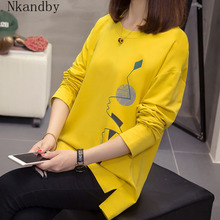 Nkandby Plus Size Vrouwen T shirts Herfst Kleding Losse Grafische Tees Shirts Oversized Split Lange Mouwen Print Koreaanse Lady Tshirts