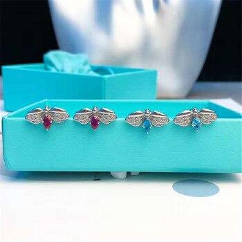 Elegante pendiente con diseño de flor de encanto de circón para mujer, pendiente de luciérnaga S925, joyería de plata esterlina de lujo, marcas de regalo para el Día de San Valentín