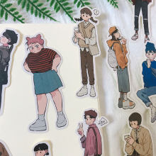 13PCS Korean men and women cute daily clothes Stickers Crafts And Scrapbooking stickers book Decorative sticker DIY Stationery