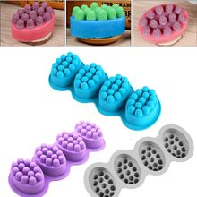 4 Cavities Oval Massage Soap Mold Massage Bar Silicone Molds For DIY Soap Making