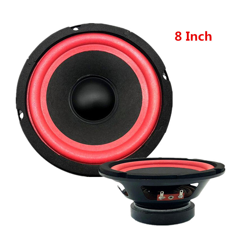 8 Inch Cylinder Tunnel Car Audio Subwoofer DIY Modification Speaker Red Foam Edge Full Frequency  Waterproof Polyplastic Cone