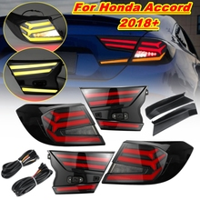 Pair Car Styling Taillight For Honda For Accord 2018 2019 Tail lights LED Tail Lamp Rear Trunk Brake Lamp Cover Smoke Plug Play