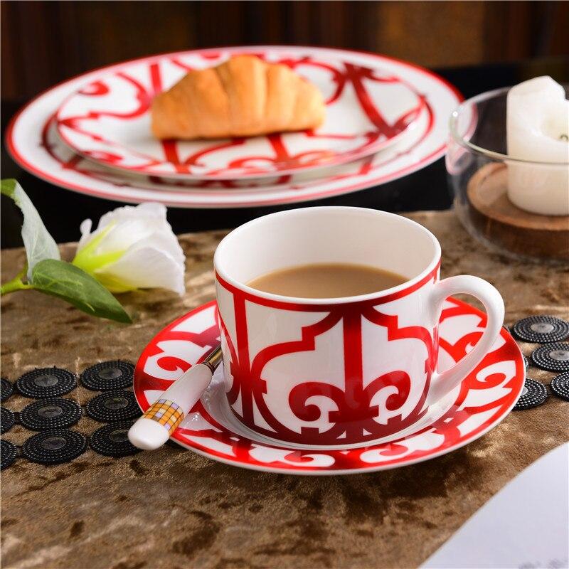Высококачественный костяной фарфор Китайская Красная кофейная чашка керамический чай черный чай чашка блюдо животное столовые приборы на