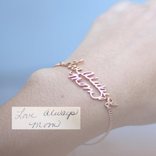 Personalized Custom Name Bracelet Charms Handmade Women Kids Jewelry Engraved Handwriting Signature Love  Customized Gift