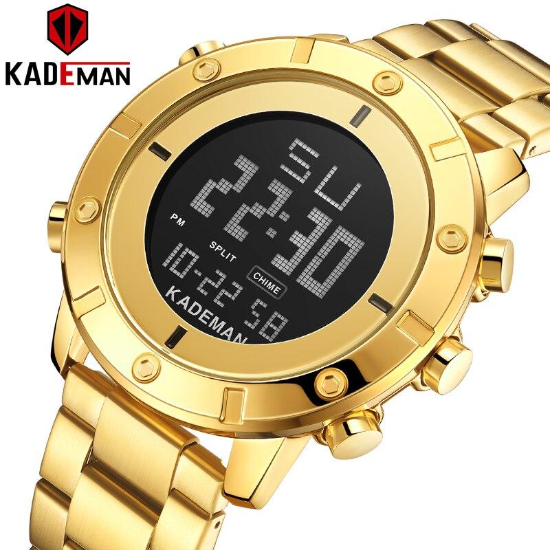 Top Luxury Brand Kademan New Men's Sports Watch Full Steel Strap LED Dual Display Fashion Quartz Wristwatch Waterproof K9151G