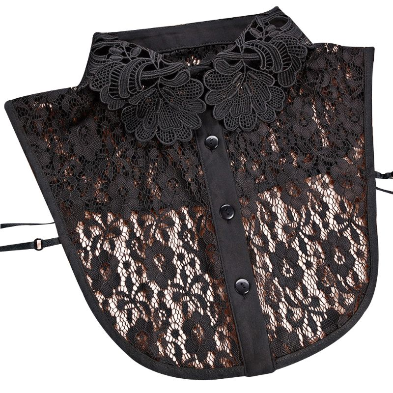 Women Women Blouse Sweater Round Neck Fake False Collar Detachable Sheer Embroidered Floral Lace Solid Half Shirt Tie Button