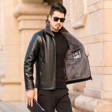Men's Leather Jackets Winter Warm Fleece