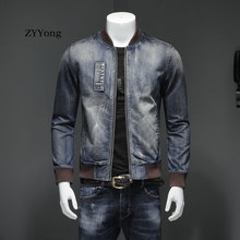 Autumn European Style Stand Collar Bomber Pilot Blue Denim Jacket Men Jeans Coats Slim Motorcycle Casual Outwear Clothing