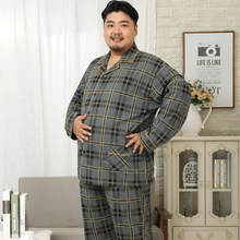 Plus Size 5XL 100% cotton men pajama sets spring Simple plaid Sleepwear men pijamas pyjamas homme casual nightwear