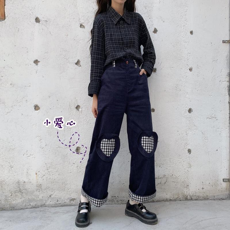Focal20 Streetwear Heart Plaid Patchwork Corduroy Women Pants Elastic Waist Vintage Lady Trousers High Waist Autumn Lady Bottoms