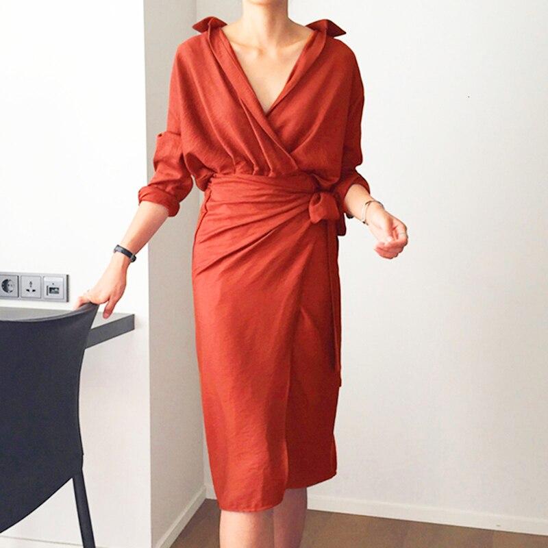CHICEVER Bow Bandage Dresses For Women V Neck Long Sleeve High Waist Women's Dress Female Elegant Fashion Clothing New 2020 2