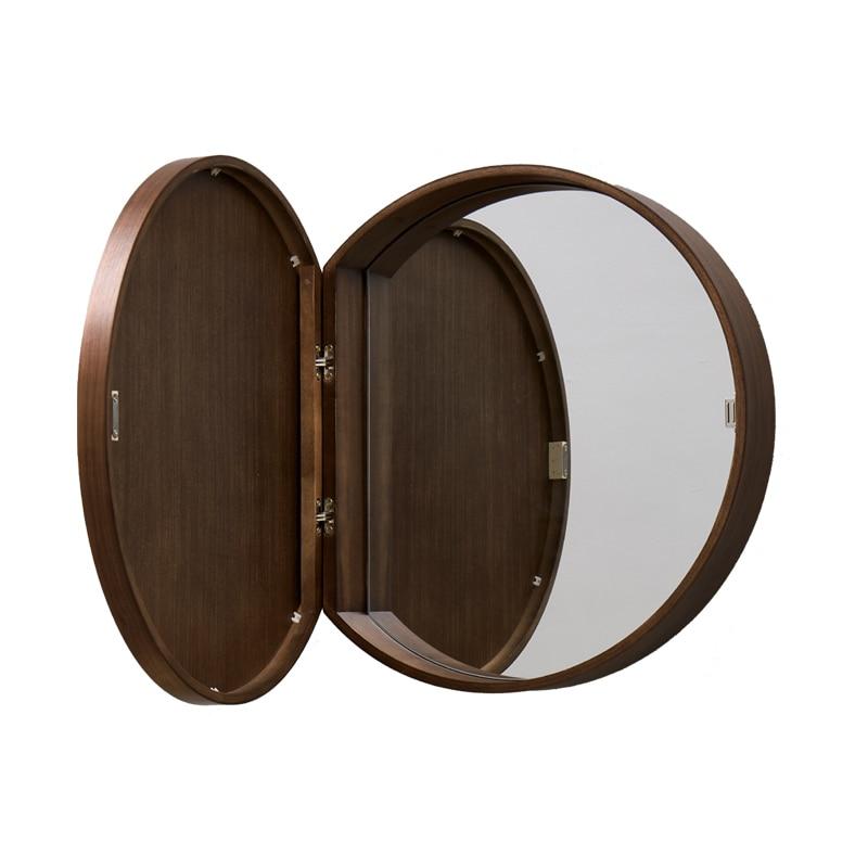 Solid Wood Bathroom Mirror Cabinet Bathroom Round Hidden Mirror Box Wall Mounted Bathroom Mirror Cabinet Anti Fog Bath Mirrors Aliexpress