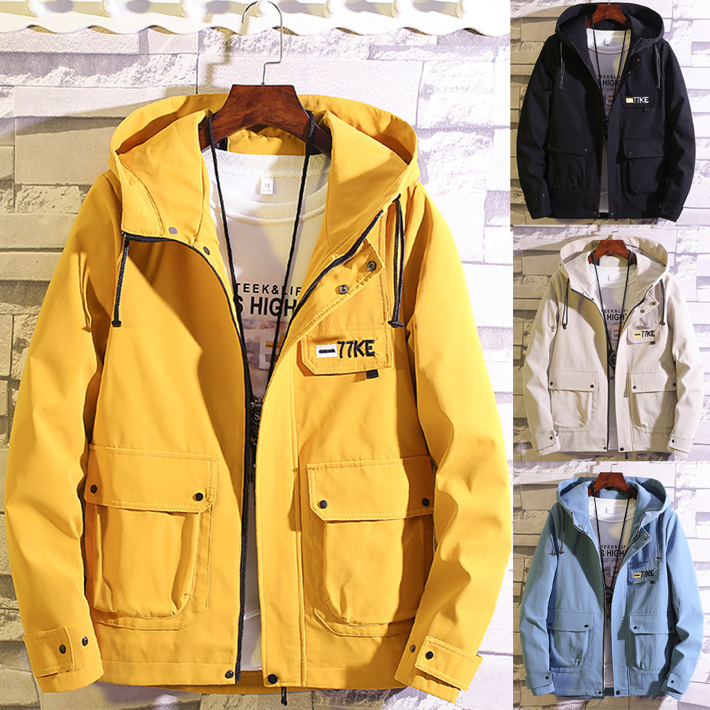 Dropshipping Casual Tops Plus Size  Fashion Men's Autumn Casual Fashion Patchwork Jacket Multiple Pockets Outwear Coat Man Hands