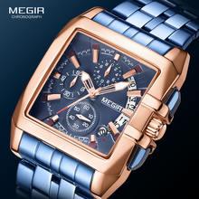 Megir 2020 Топ бренд Модные Роскошные мужские часы синий нержавеющая