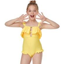 Слитный купальник для девочек однотонный с оборками детей 2