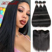 Ali Annabelle perulu düz saç demetleri ile Frontal orta kahverengi sırma insan saçı örgü demetleri ile HD şeffaf Frontal
