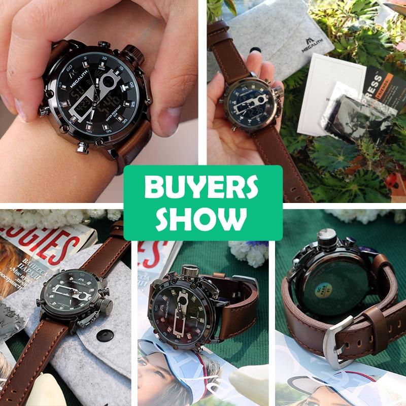 MEGALITH moda męska Sport zegarek kwarcowy mężczyźni wielofunkcyjny wodoodporny zegarek luminescencyjny mężczyźni podwójny Dispay zegar Horloges Mannen 5
