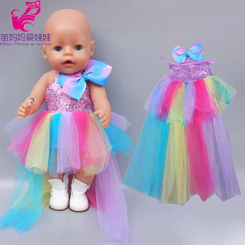 43 Cm Bayi Baru Lahir Gaun Boneka Sequine Rainbow Renda Rok untuk 18 Inch American And Girl Dress