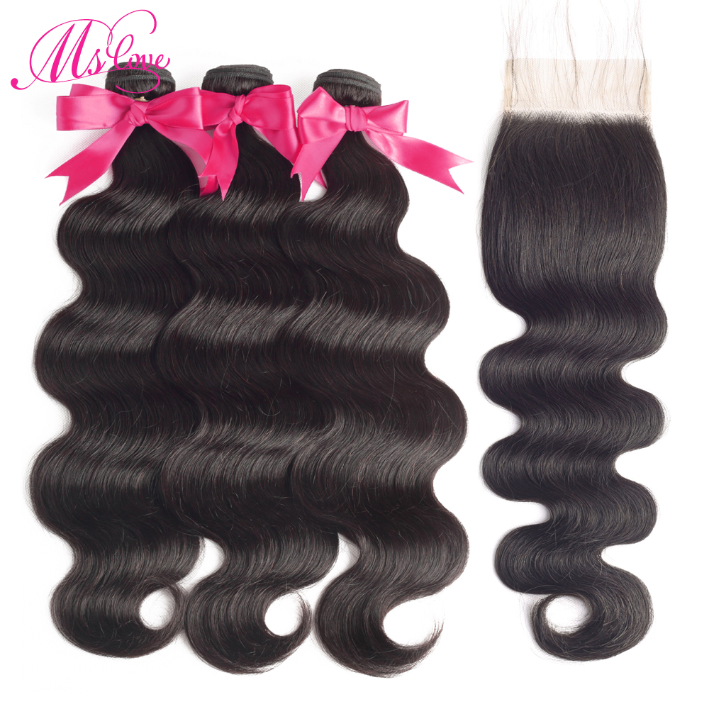 Ms Love Hair Body Wave Bundles With Closure Brazilian Human Hair Bundles With Closure 3 Bundles With Closure Remy
