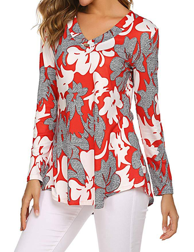 H34cdd7a27dd1493e978081feffcaf45ct - Large size Blouse Women Floral Print Long Shirts elegant Long Sleeve Button Autumn Tunic Tops Plus Size Female Clothing