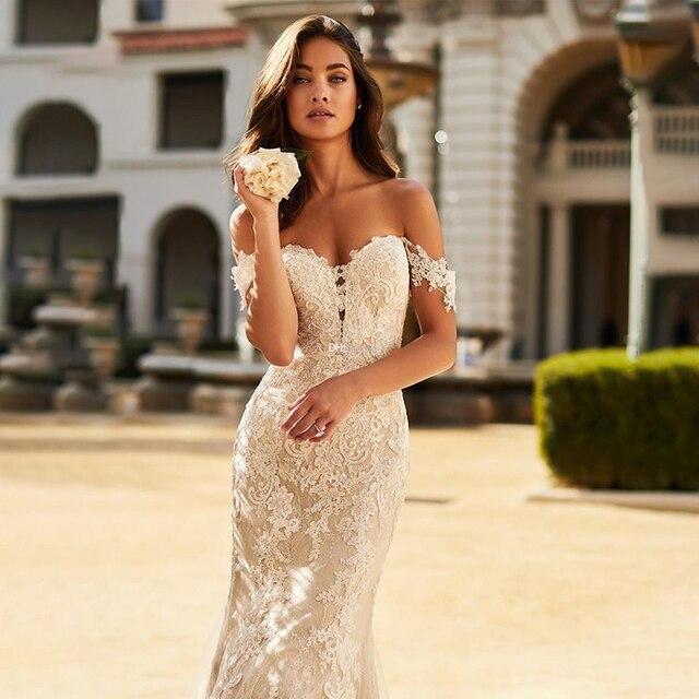 Mermaid Wedding Dress Boho 2021 Sexy Off The Shoulder Lace appliques Backless Bridal Dress Plus Size vestido de noiva 3
