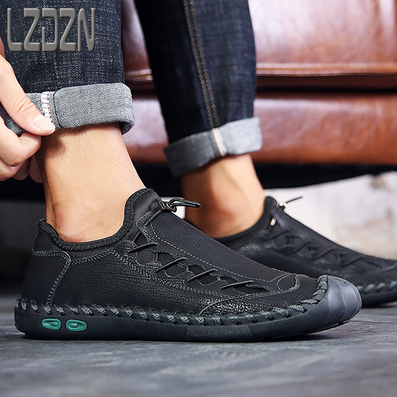 Big Foot Genuine Leather Shoes For Men's Breathable Trendy Soft-Soled Large Size 12 Casual Handmade Brand Moccasins Black Summer 3