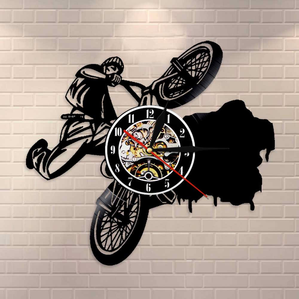 Riding Extreme-Reloj de pared para ciclismo BMX, reloj de pared con discos de vinilo, pista de carreras, decoración para el hogar, regalo para conductores de acrobacias