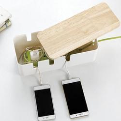 Gorąca sprzedaż biały schowek na kable z drewnianą pokrywą kreatywny pulpit wykończeniowy listwa zasilająca drut sieciowy organizator linii