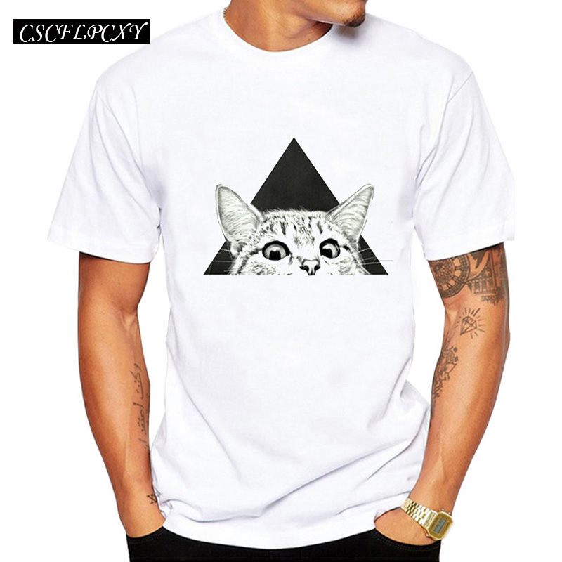 2019 New Fashion You asleep yet Printed Men T-Shirt Short Sleeve Hipster Tops Summer Vintage Cat Design Tees image