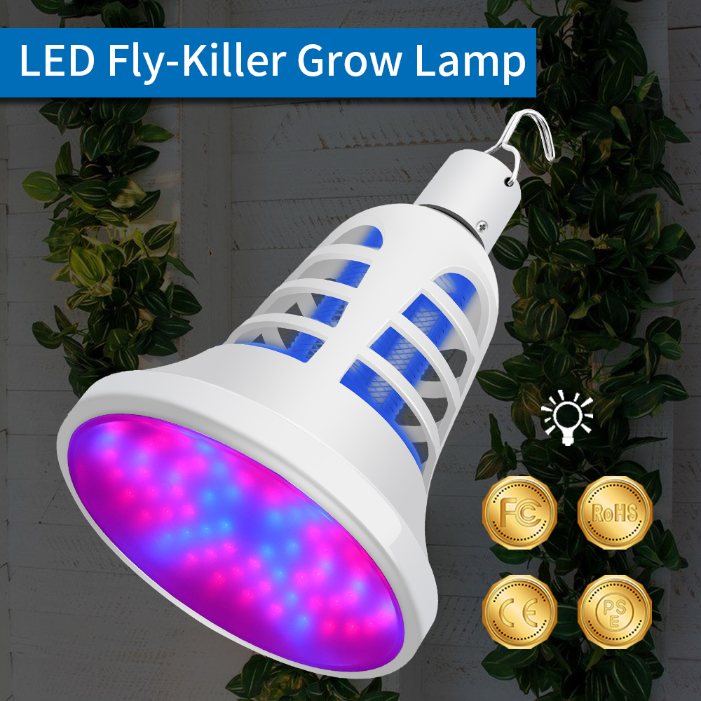 WENNI USB LED Grow Light Full Spectrum Insect Light Trap Electric Fly Zapper Bug Killer LED Plant Lamp Mosquito Repellent Lamp