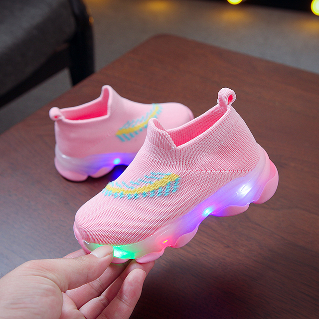 Children Shoes LED Light Up Shoes Glowing Sneakers Luminous Sole Sneakers Kids Boy Girl Comfortable Breathable sports Shoes #M 1